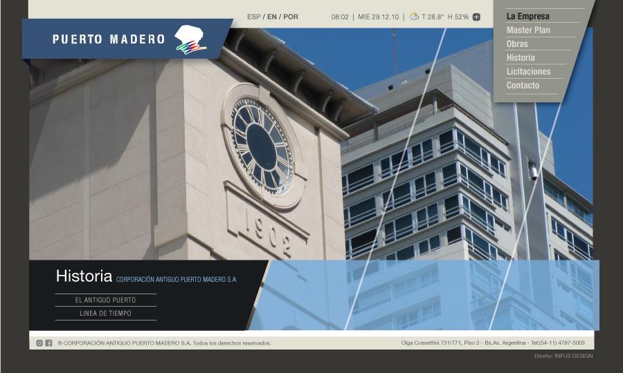 Diseño de página web Corporación Puerto Madero
